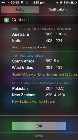 cricbuzz cricket widget ios 8