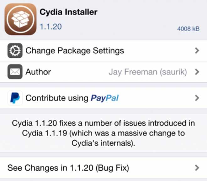 Cydia v 1.1.20