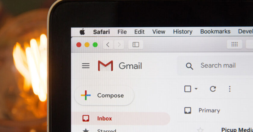 Gmail displayed on tablet