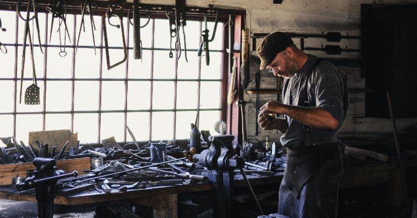 Man working in trade shop