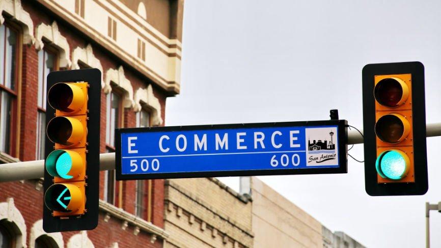 "Street Sign reads ""E Commerce"""