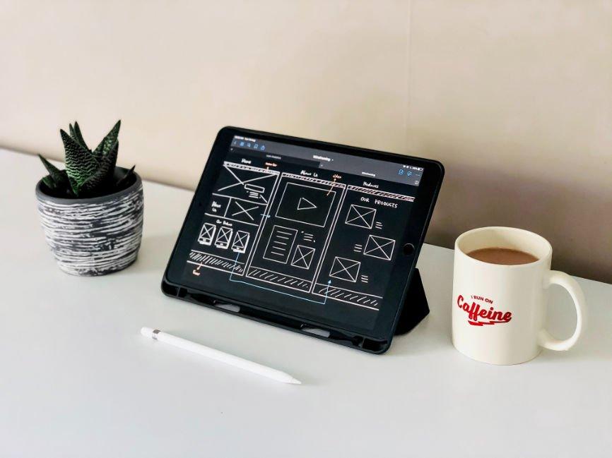 Wire frame design of website displayed on a tablet