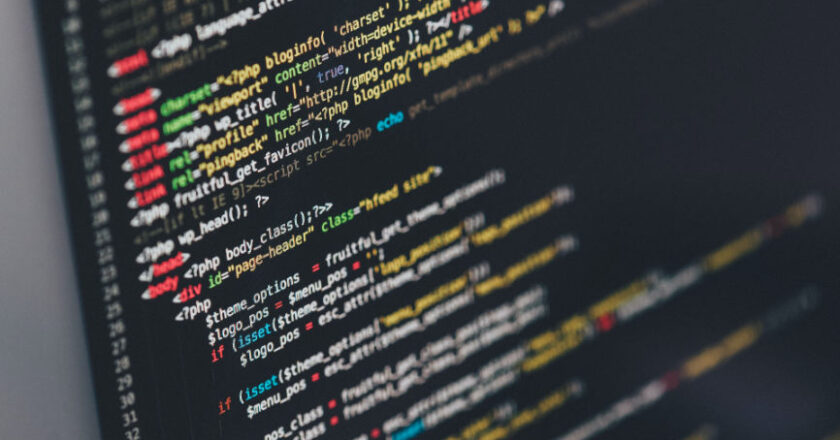 Computer screen displaying code