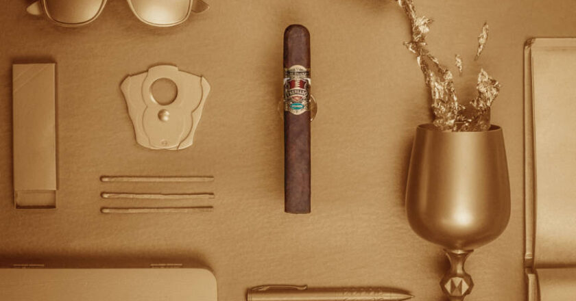 Cigar, Wine and other objects covered in gold