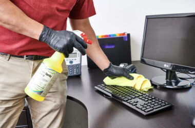 Man cleaning office