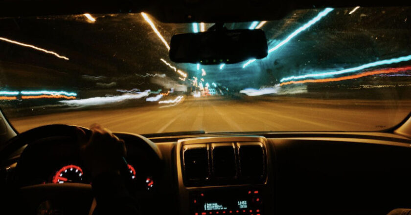 Vies of road from inside car