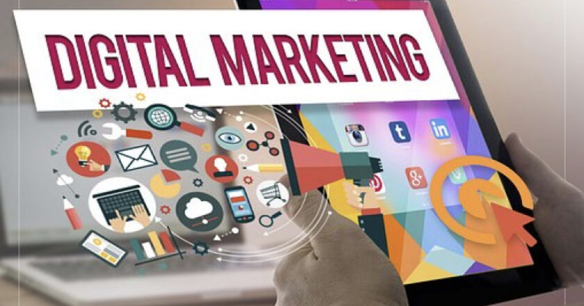 Graphic abstract over a photo of a laptop and tablet depicting Digital Marketing