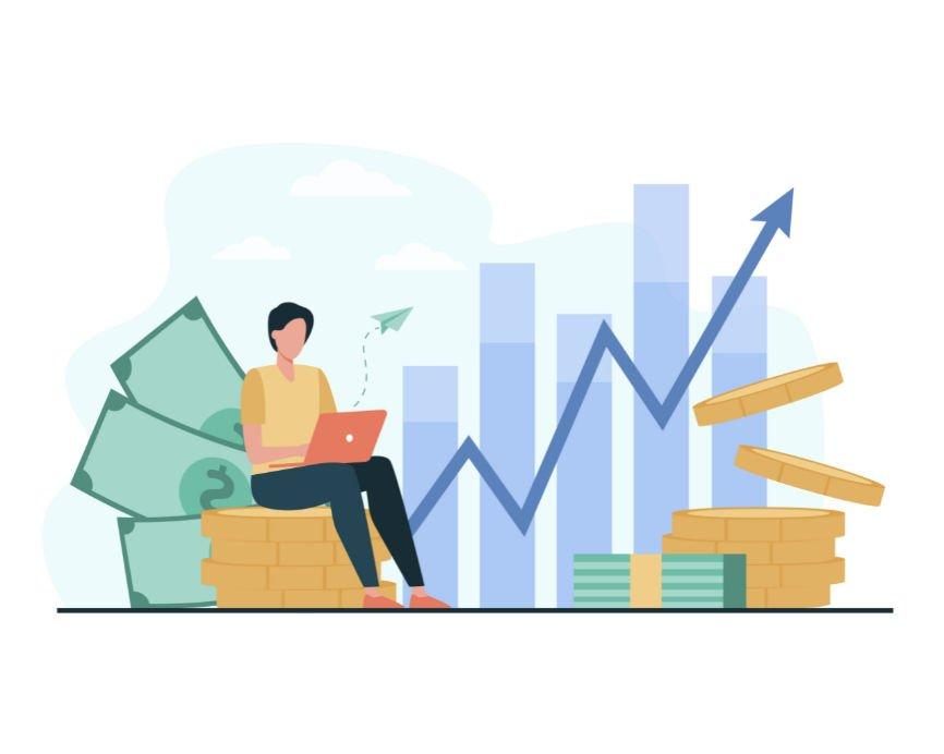 Illustration of financial advisor and bar graph