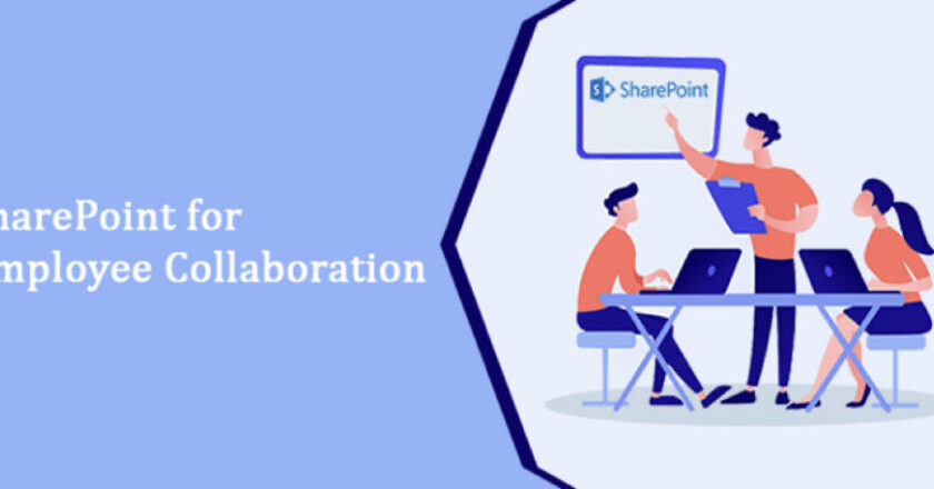 """Graphic showing one person presenting to two others. It reads """"Sharepoint for Employee Collaboration"""""""