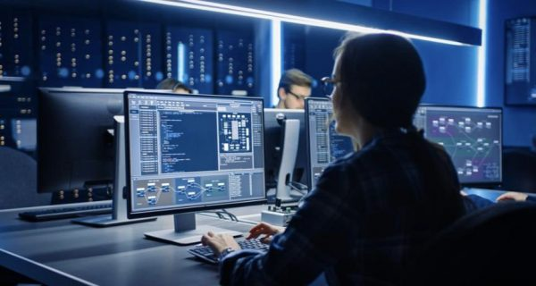 Software engineer seated at computer