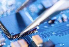 Photo of circuit board and semiconductors