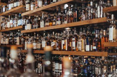 Alcohol displayed on bar shelf