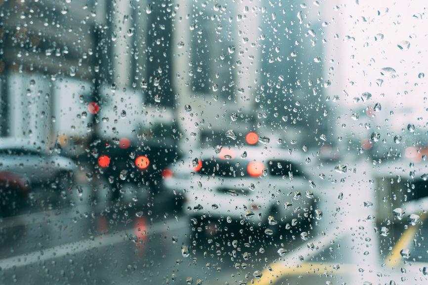 Car traffic in rain