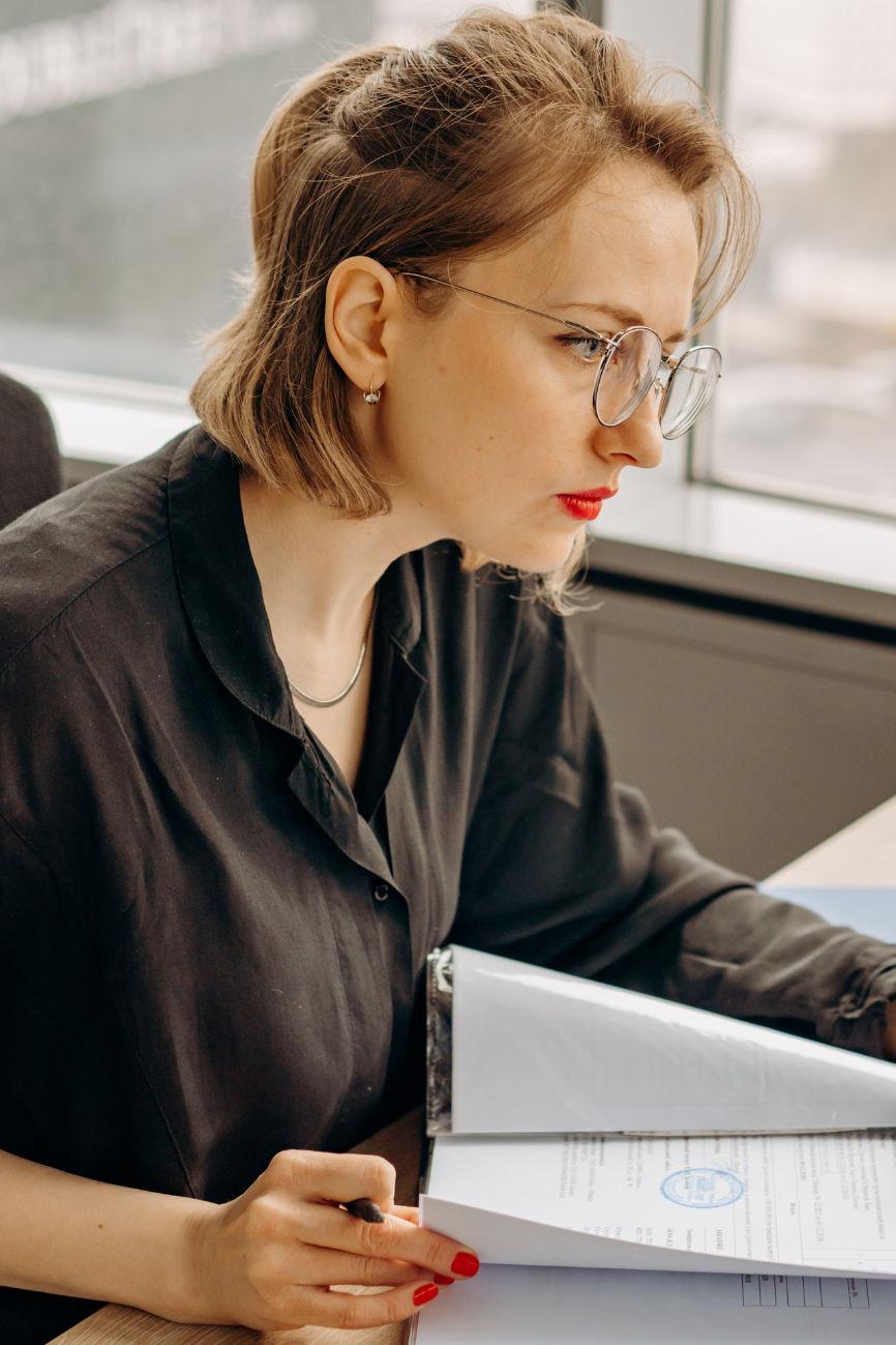 Woman filing insurance claim